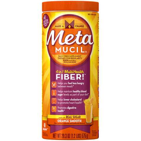 Metamucil Smooth Texture Fiber Supplement Powder Orange Flavor