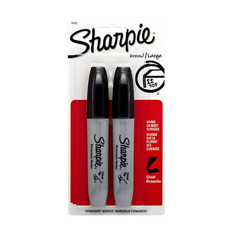 Sharpie Chisel-Tip Permanent Markers Black 2 pack