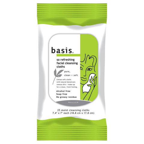 Basis So Refreshing Facial Cleansing Cloths 25 Count