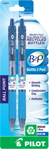 Pilot Bottle-2-Pen Retractable Ball Point Pens Medium Point Blue 2 pack