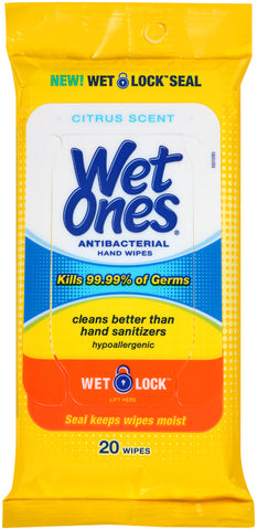 Wet Ones Antibacterial Hand Wipes Travel Pack Citrus Scent  20 Count