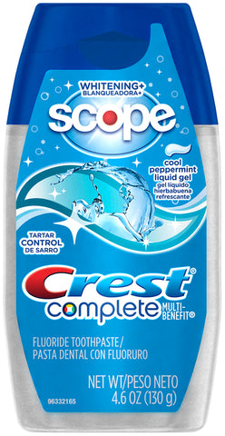Crest Complete Multi-Benefit Tartar Control Whitening Plus Scope Liquid Gel Toothpaste Cool Peppermint  4.6oz