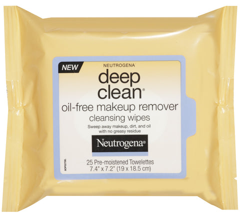 Neutrogena Deep Clean Oil Free Makeup Remover Cleansing Wipes   25 Count