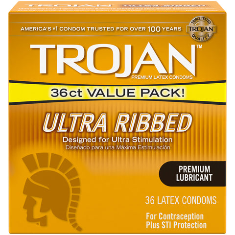 Trojan Stimulations Ultra Ribbed Lubricated Latex Condoms  36 Count