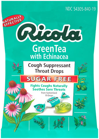 Ricola Cough Suppressant Throat Drops Sugar Free Green Tea & Echinacea 19 Count