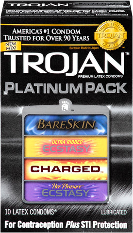 Trojan Platinum Pack Lubricated Latex Condom Assortment  10 Count