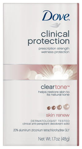 Dove Clinical Protection Antiperspirant Deodorant Clear Tone Skin Renew Invisible Solid 1.7oz