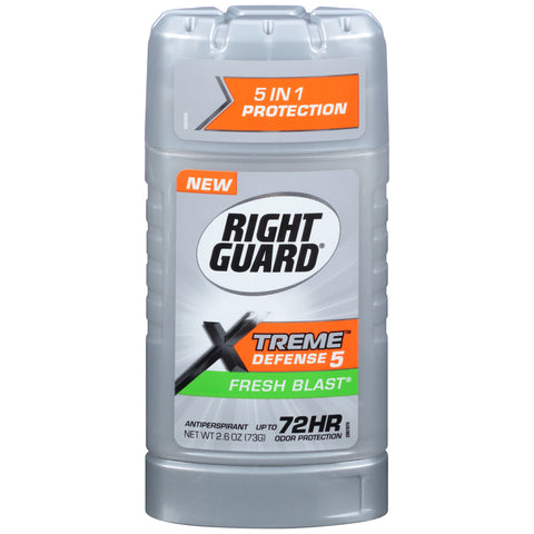 Right Guard Xtreme Defense 5 Antiperspirant Deodorant Invisible Solid Fresh Blast  2.6oz