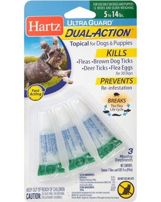 Hartz UltraGuard Dual Action Flea and Tick Drops for Dogs and Puppies 5-14 lbs, 3 count