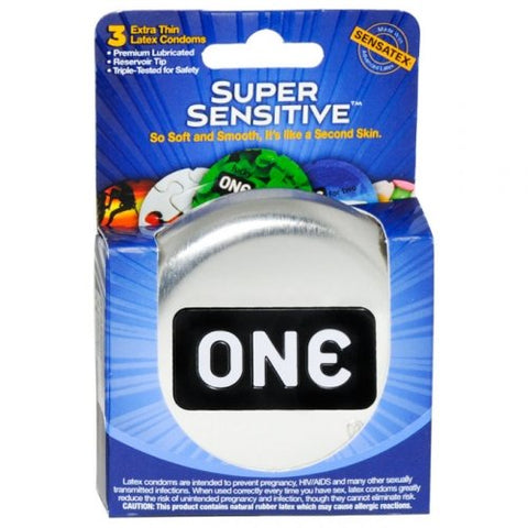 ONE Super Sensitive Premium Latex Condoms 3 Count