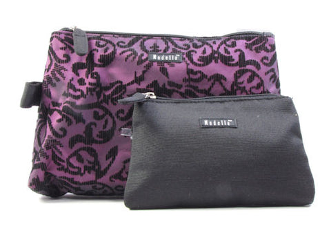 Modella Classic 2 Piece Clutch Set Black & Purple