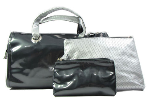 Modella 3 Piece Cosmetic Tote Set Black & Silver