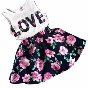 girls sleeveless Love top and flower skirt. Black and pink coloring