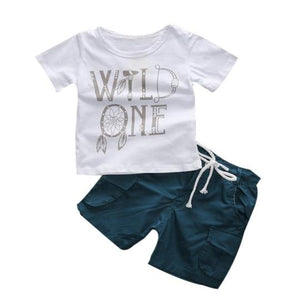 wild one white shirt and blue shorts with drawstring