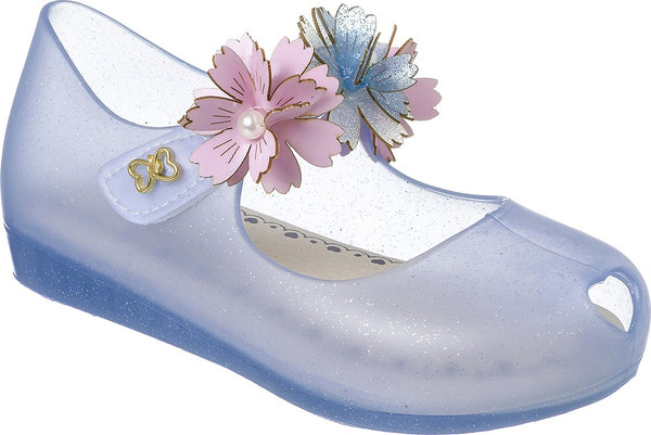 World Colors Blue Jelly shoe with Flowers