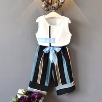 Boutique Outfit Sleeveless Vest+Bow Wide Leg Pants - Ribbon and Blues