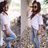 Summer Lace Top T-Shirt+Denim Jeans - Ribbon and Blues