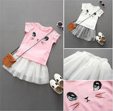 Cat Short Sleeve T-shirt Tops and Tutu Dress - Ribbon and Blues