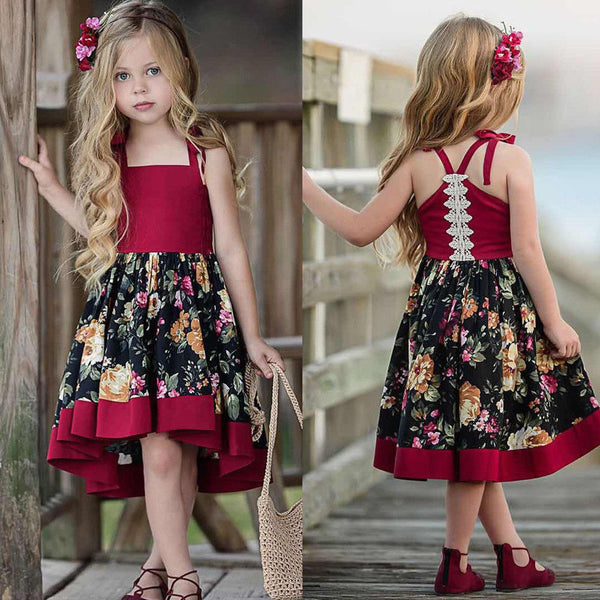 Sleeveless Red and Flower Party Dress - Ribbon and Blues