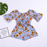 Girls Romper - Ribbon and Blues