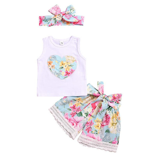 Floral Sleeveless Heart T-shirt and Floral Lace Shorts with Matching Headband