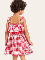 Toddler Girls Pom Pom Trim Gingham Straps Dress - Ribbon and Blues