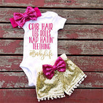 3Pcs Baby Bodysuit with Sequined Pants and Bow Headband - Ribbon and Blues