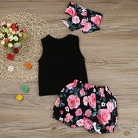 Sleeveless Black T-shirt Top and Print Short Pants and Headband - Ribbon and Blues