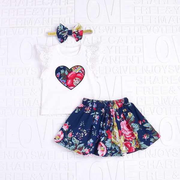Floral Print Lace Tops and Print Skirt with Bow Headband - Ribbon and Blues