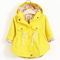 Polka Dot Long Sleeve Hooded Coat