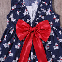 Zebra Dress with Red Bow