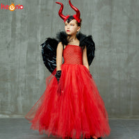 Evil Scarlet Red Girl Tutu Dress with Horns and Wings