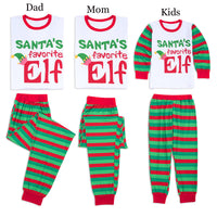 Family Matching Christmas Pajamas with Elf Top and Green Stripe Pants