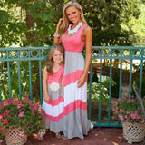 Contrast Pink White Gray  A-Line Dresses for Mom and Daughter - Ribbon and Blues