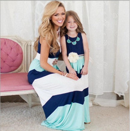 Contrast Blues and White A-Line Dresses for Mom and Daughter - Ribbon and Blues