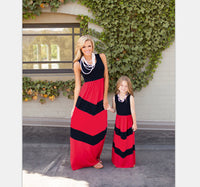 Contrast with Red A-Line Dresses for Mom and Daughter
