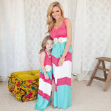 Contrast Pink Blue White A-Line Dresses for Mom and Daughter