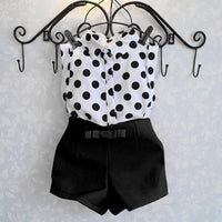Polka Dot Sleeveless Top and Pink Shorts - Ribbon and Blues