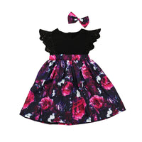 Sweet Flower Dress with Matching Bow - Ribbon and Blues