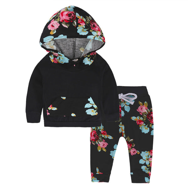 Flower Print Hoodie and Leggings Set - Ribbon and Blues