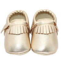 Tassels Baby Moccasins - Ribbon and Blues