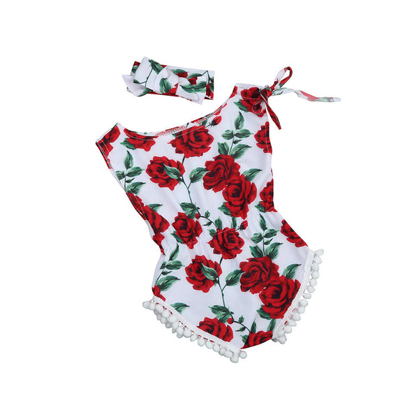 Floral Cotton Romper with Headband - Ribbon and Blues