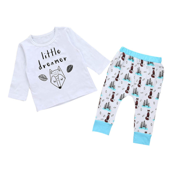 Little Dreamer Long Sleeve Pajamas - Ribbon and Blues