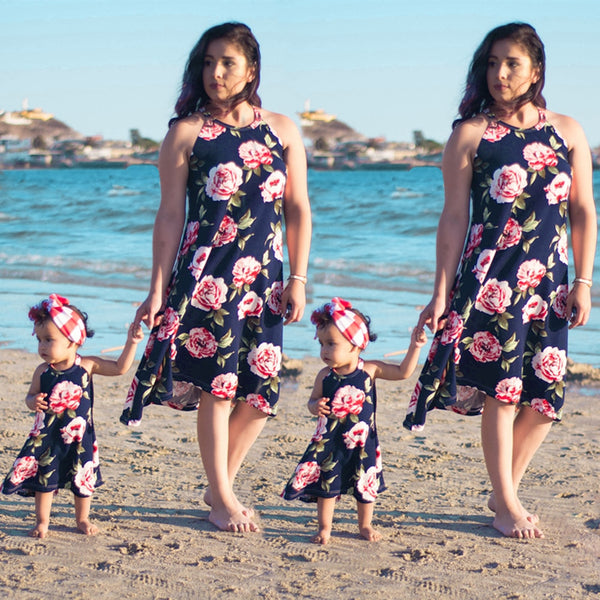 Mother and Daughter Sleeveless Flower Dresses