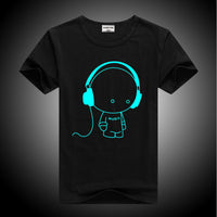 Glow in the dark headphone cool guy. black shirt with cool guy changing from tan to bright blue