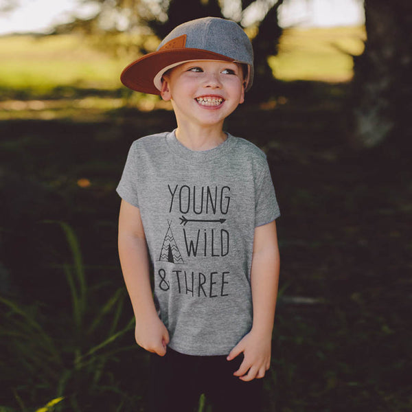 Young Wild and Three T-shirt - Ribbon and Blues