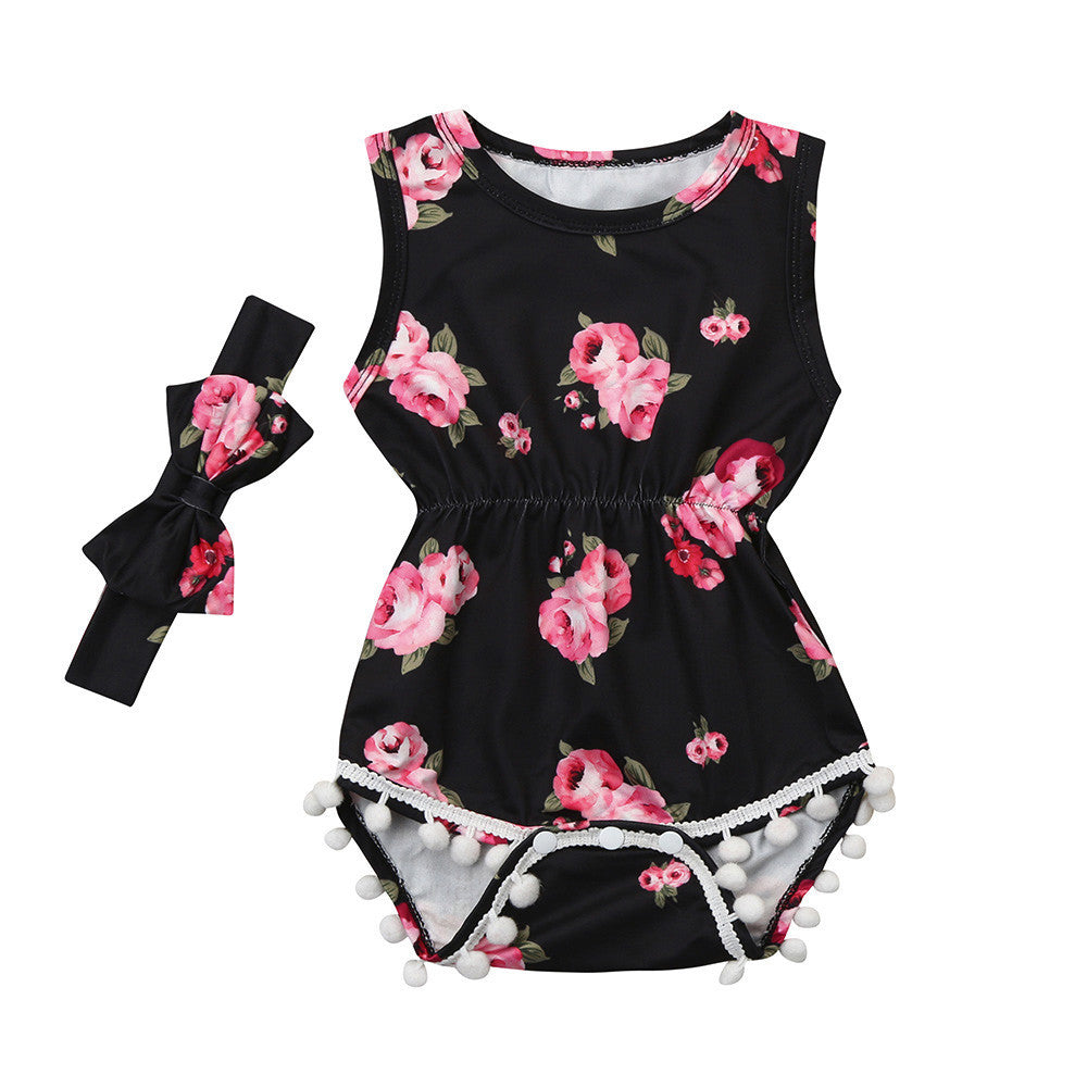 Floral Tassel Jumpsuit Romper with Headband for girls