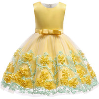 Yellow Embroidered Silk Dress - Ribbon and Blues