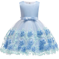 Blue Embroidered Silk Dress - Ribbon and Blues