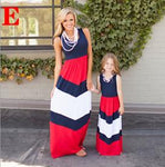 Contrast  Red White and Blue A-Line Dresses for Mom and Daughter